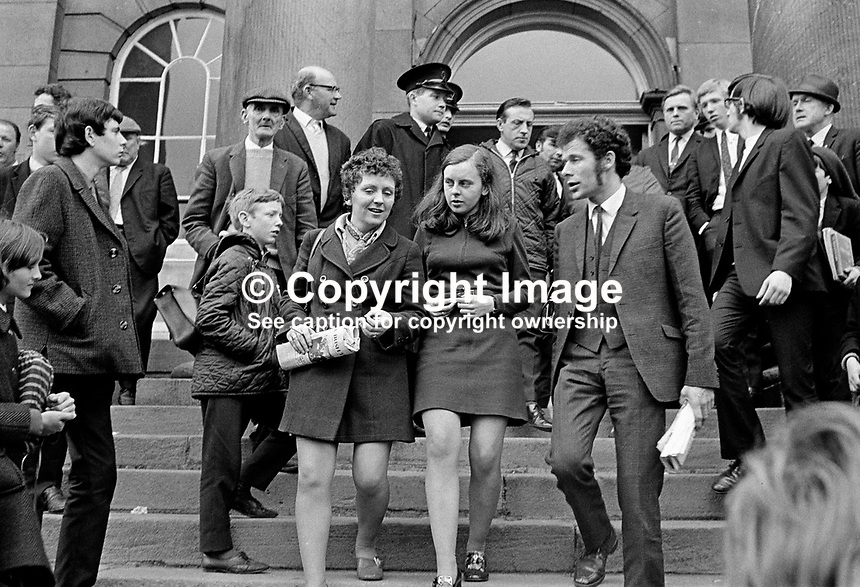 Bernadette Devlin, MP, centre, leaves the Courthouse, Omagh, Co Tyrone, N Ireland, UK, after being fined &pound;20 and given a three months suspended sentence as a result of disturbances at a local council meeting. Nell McCafferty and Eamonn McCann, both from Derry, were similarly sentenced. 197005180173a.<br />