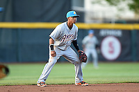Akron RubberDucks shortstop Francisco Lindor (12) during a game against the Erie SeaWolves on May 17, 2014 at Jerry Uht Park in Erie, Pennsylvania.  Erie defeated Akron 2-1.  (Mike Janes/Four Seam Images)