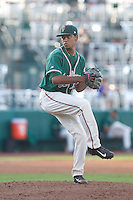 Greensboro Grasshoppers relief pitcher Miguel Del Pozo (26) in action against the Hagerstown Suns at NewBridge Bank Park on May 20, 2014 in Greensboro, North Carolina.  The Grasshoppers defeated the Suns 5-4. (Brian Westerholt/Four Seam Images)