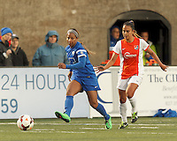 Cambridge, Mass., - Sunday, April 27, 2014: In a National Women's Soccer League (NWSL) match, the Boston Breakers (blue) defeated Sky Blue FC (white/orange), 3-2, at Harvard Stadium.
