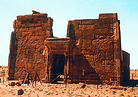 World Civilization:  Meroe/Kush--Lion Temple of Naqa, Egyptian in style; King and Queen killing enemies. Plump Queen conforms to Black African ideal of beauty.