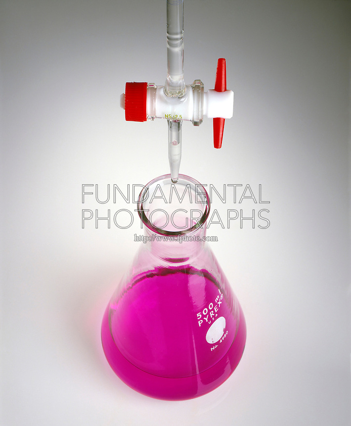 PHENOLPHTHALEIN INDICATOR (1 of 2)<br /> Phenolphthalein colors NaOH solution (pH 10) pink. HCl in buret will lower the pH.