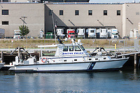 One of the boats of the Boston Police Harbor Patrol Unit, docked just off of Terminal Street in South Boston