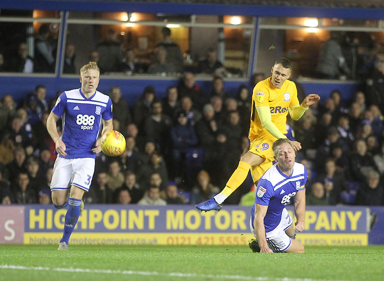 Preston North End's Graham Burke gets a shot on goal<br /> <br /> Photographer Mick Walker/CameraSport<br /> <br /> The EFL Sky Bet Championship - Birmingham City v Preston North End - Saturday 1st December 2018 - St Andrew's - Birmingham<br /> <br /> World Copyright &copy; 2018 CameraSport. All rights reserved. 43 Linden Ave. Countesthorpe. Leicester. England. LE8 5PG - Tel: +44 (0) 116 277 4147 - admin@camerasport.com - www.camerasport.com
