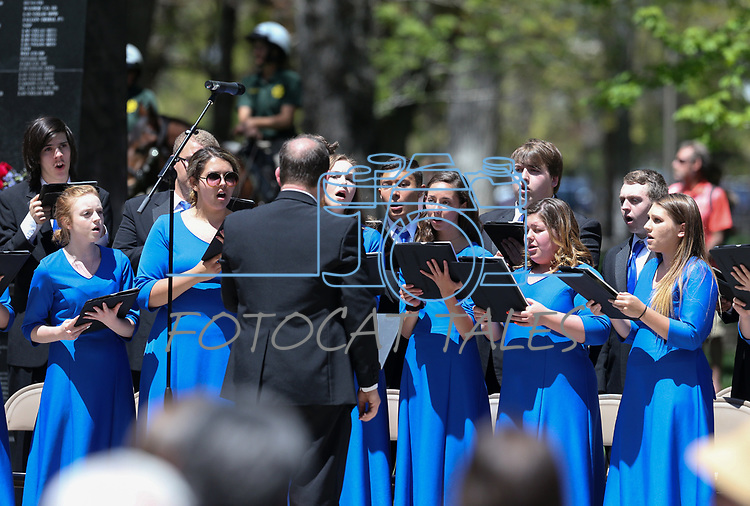 The Carson City High School Chamber Choir sings at the 21st annual Nevada State Law Enforcement Officers Memorial ceremony in Carson City, Nev., on Thursday, May 3, 2018. <br />
