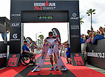 OCEANSIDE, CA - APRIL 7:  Jan Frodeno of Germany runs past the finish line for the win and new course record during the IRONMAN 70.3 Oceanside Triathlon on April 7, 2018 in Oceanside, California. (Photo by Donald Miralle for IRONMAN)