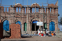 Madrasa Students in front of Mosque under Construction, Madrasa Islamia Arabia Izharul-Uloom, Dehradun, India.