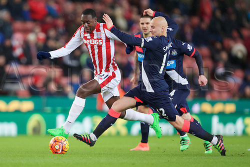 02.03.2016. The Britannia Stadium, Stoke, England. Barclays Premier League. Stoke City versus Newcastle United. Newcastle United midfielder Jonjo Shelvey tackles Stoke City midfielder Giannelli Imbula.