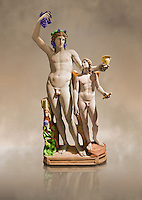 Painted colour verion of 2nd century AD Roman marble sculptured of Dionysus and Eros, inv 6307, Naples Museum of Archaeology, Italy