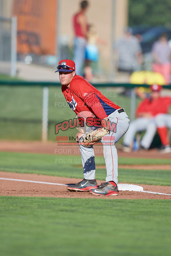 David MacKinnon (19) of the Orem Owlz on defense against the Ogden Raptors in Pioneer League action at Lindquist Field on June 27, 2017 in Ogden, Utah. Ogden defeated Orem 14-5. (Stephen Smith/Four Seam Images)