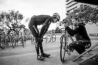 Michael Gogl (AUT/Trek-Segafredo)<br /> checking saddle hight before the rest day/coffee ride  at the Team Trek-Segafredo winter training camp<br /> <br /> january 2017, Mallorca/Spain