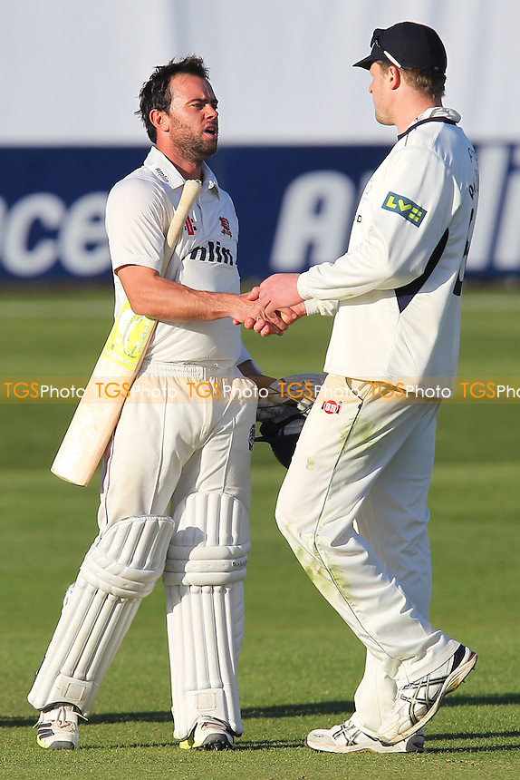 David Balcombe of Hampshire (L) congratulates Mark Pettini of Essex at the end of the game - Essex CCC vs Hampshire CCC - LV County Championship Division Two Cricket at the Essex County Ground, Chelmsford - 01/05/13 - MANDATORY CREDIT: Gavin Ellis/TGSPHOTO - Self billing applies where appropriate - 0845 094 6026 - contact@tgsphoto.co.uk - NO UNPAID USE.