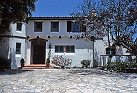 The Adamson House, designed by a well-known architect, Stiles Clements, was constructed beginning in 1929. Built for Rhoda Rindge Adamson and her husband, Merritt Huntley Adamson. Situated near the Malibu Pier between popular Surfrider Beach and the Malibu Lagoon, the house boasts an exotic mix of Spanish and Moorish influences.It is now the Malibu Lagoon Museum. Photo--July 1989.