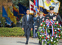 United States President Barack Obama, left, and US Army Major General Bradley A. Becker, Commander, US Army Military District of Washington, center, arrive to lay a wreath at the Tomb of the Unknown Soldier at Arlington National Cemetery in Arlington, Virginia on Veteran's Day, Friday, November 11, 2016.<br /> Credit: Ron Sachs / Pool via CNP /MediaPunch