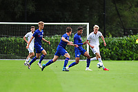 Arnor Gudjohnsen of Swansea City vies for possession with Tino Anjorin of Chelsea FC during the Premier League u18 match between Swansea City AFC and Chelsea FC at Landore Training Ground, Wales, UK. Tuesday 11th September 2018