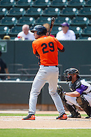 Trey Mancini (29) of the Frederick Keys at bat against the Winston-Salem Dash at BB&T Ballpark on July 30, 2014 in Winston-Salem, North Carolina.  The Dash defeated the Keys 12-2.   (Brian Westerholt/Four Seam Images)