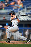 Hudson Valley Renegades third baseman Jim Haley (38) at bat during a game against the Batavia Muckdogs on July 31, 2016 at Dwyer Stadium in Batavia, New York.  Hudson Valley defeated Batavia 4-1.  (Mike Janes/Four Seam Images)