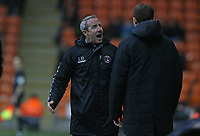 Charlton Athletic manager Lee Bowyer argues with the fourth official<br /> <br /> Photographer Stephen White/CameraSport<br /> <br /> The EFL Sky Bet League One - Blackpool v Charlton Athletic - Saturday 8th December 2018 - Bloomfield Road - Blackpool<br /> <br /> World Copyright &copy; 2018 CameraSport. All rights reserved. 43 Linden Ave. Countesthorpe. Leicester. England. LE8 5PG - Tel: +44 (0) 116 277 4147 - admin@camerasport.com - www.camerasport.com