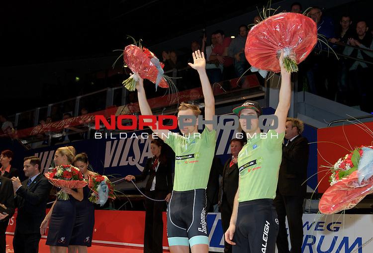 13.01.2015, &Ouml;VB Arena, Bremen, GER, Sixdays Bremen, im Bild 2. Platz Morgan Kneisky / Jesper Moerkoev (Team Leasing-eBike #10)<br /> <br /> Foto &copy; nordphoto / Frisch