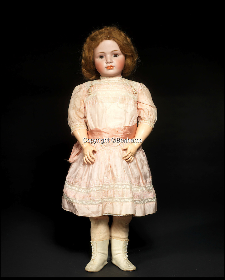 BNPS.co.uk (01202 558833)<br /> Pic: Bonhams/BNPS<br /> <br /> ***Please Use Full Byline***<br /> <br /> A rare and large simon & halbig 1448 bisque head character doll.<br /> £8,000 - 12,000<br /> <br /> A creepy collection of almost 100 'lifelike' dolls modelled on children has emerged for sale with a whopping half a million pounds price tag. <br /> <br /> The eerie-looking toys were made in Germany in the early 20th century as dollmakers strived to produce dolls with realistic human features.<br /> <br /> The collection of 92 dolls, which includes some of the rarest ever made, has been pieced together by a European enthusiast over the past 30 years.<br /> <br /> It is expected to fetch upwards of £500,000 when it goes under the hammer at London auction house Bonhams tomorrow (Weds).
