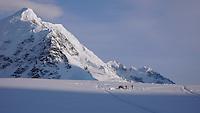 Camp on the Kahiltna glacier along Denali's West Buttress route, Alaska Range.