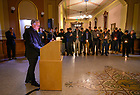 """January 19, 2020; Notre Dame President Rev. John I. Jenkins, C.S.C. delivers the concluding prayer at the candlelight prayer service in observation of Martin Luther King Jr. Day in the Main Building. The event also marked the beginning of """"Walk the Walk"""" week, a series of events and observances to celebrate and reflect on diversity and inclusiveness.  (Photo by Barbara Johnston/University of Note Dame)"""