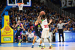 Movistar Estudiantes's Stefan Bircevic and Laboral Kutxa's Darius Adams during Liga Endesa ACB at Barclays Center in Madrid, October 11, 2015.<br /> (ALTERPHOTOS/BorjaB.Hojas)