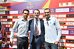 Alberto Contador (ESP) and Ivan Basso (ITA) with Sandro Pappalardo, The Head of Tourism, Sport and Entertainment of the Sicilian Region, before the start of Stage 1 of Il Giro di Sicilia running 165km from Catania to Milazzo, Italy. 3rd April 2019.<br /> Picture: LaPresse/Massimo Paolone | Cyclefile<br /> <br /> <br /> All photos usage must carry mandatory copyright credit (© Cyclefile | LaPresse/Massimo Paolone)