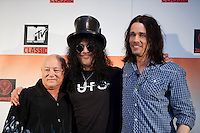 Angry Anderson, Slash and Myles Kennedy at the media call for the MTV Classic launch at Maze Restaurant, Crown Metropole, Melbourne, 27 April 2010
