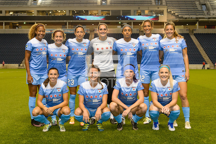 Chicago, IL - Saturday Sept. 24, 2016: Chicago Red Stars Starting XI prior to a regular season National Women's Soccer League (NWSL) match between the Chicago Red Stars and the Washington Spirit at Toyota Park.
