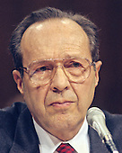 William Perry gives testimony before the United States Senate Armed Services Committee on his nomination as US Secretary of Defense on Capitol Hill in Washington, DC on February 2, 1994.<br /> Credit: Ron Sachs / CNP
