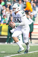 College Park, MD - November 3, 2018: Michigan State Spartans quarterback Brian Lewerke (14) in action during the game between Michigan St. and Maryland at  Capital One Field at Maryland Stadium in College Park, MD.  (Photo by Elliott Brown/Media Images International)