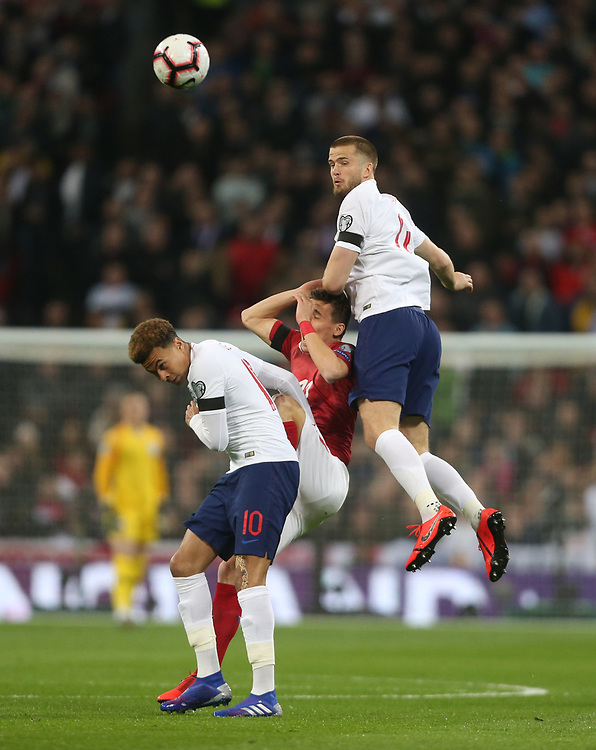 England's Eric Dier and Dele Alli challenge Czech Republic's David Pavelka<br /> <br /> Photographer Rob Newell/CameraSport<br /> <br /> UEFA Euro 2020 Qualifying round - Group A - England v Czech Republic - Friday 22nd March 2019 - Wembley Stadium - London<br /> <br /> World Copyright © 2019 CameraSport. All rights reserved. 43 Linden Ave. Countesthorpe. Leicester. England. LE8 5PG - Tel: +44 (0) 116 277 4147 - admin@camerasport.com - www.camerasport.com