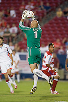 New England Revolution goalkeeper Matt Reis (1) makes a save.  New England Revolution defeated FC Dallas 3-2 to capture the 2007 Lamar Hunt U.S. Open Cup at Pizza Hut Park in Frisco, TX on October 3, 2007.