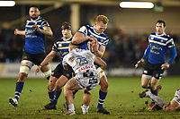 Miles Reid of Bath Rugby takes on the Gloucester Rugby defence. Premiership Rugby Cup match, between Bath Rugby and Gloucester Rugby on February 3, 2019 at the Recreation Ground in Bath, England. Photo by: Patrick Khachfe / Onside Images