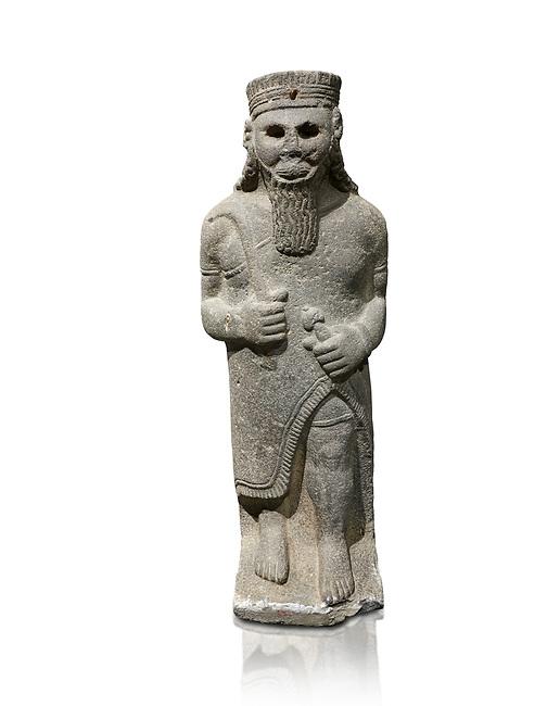 Hittite baslat sculptute of a male, late Hittite Period - 900-700 BC. Adana Archaeology Museum, Turkey. Against a white background