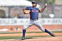 Rome Braves pitcher Oriel Caicedo (30) delivers a pitch during a game against the Rome Braves at McCormick Field on April 17, 2016 in Asheville, North Carolina. The Tourists defeated the Braves 12-5. (Tony Farlow/Four Seam Images)