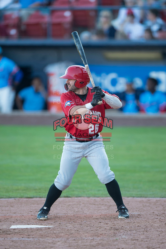 Vancouver Canadians center fielder Hunter Steinmetz (26) at bat during a Northwest League game against the Spokane Indians at Avista Stadium on September 2, 2018 in Spokane, Washington. The Spokane Indians defeated the Vancouver Canadians by a score of 3-1. (Zachary Lucy/Four Seam Images)