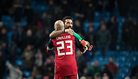 Goalkeeper Gianluigi Buffon (Juventus) of Italy embraces Goalkeeper Willy Caballero (Chelsea) of Argentina at full time during the International Friendly match between Argentina and Italy at the Etihad Stadium, Manchester, England on 23 March 2018. Photo by Andy Rowland.