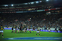 Lineout action during the Rugby Championship match between the New Zealand All Blacks and South Africa Springboks at Westpac Stadium in Wellington, New Zealand on Saturday, 15 September 2018. Photo: Dave Lintott / lintottphoto.co.nz