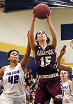 WATERBURY CT. 18 February 2018-021819SV05-#15 Sara Macary of Naugatuck High puts up a shot over #42 Jade Udoh of St. Paul High during the NVL semi final at Kennedy High in Waterbury Monday.<br /> Steven Valenti Republican-American