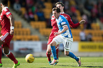 St Johnstone v Aberdeen&hellip;15.04.17     SPFL    McDiarmid Park<br />Danny Swanson fends of Kenny McLean<br />Picture by Graeme Hart.<br />Copyright Perthshire Picture Agency<br />Tel: 01738 623350  Mobile: 07990 594431