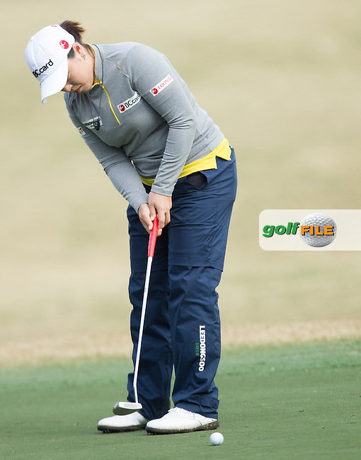 Hana Jang makes a putt on the 15th during the Second Day of the Third round of the LPGA Coates Golf Championship 2016 , from the Golden Ocala Golf and Equestrian Club, Ocala, Florida. 6/2/16<br /> Picture: Mark Davison | Golffile<br /> <br /> <br /> All photos usage must carry mandatory copyright credit (&copy; Golffile | Mark Davison)