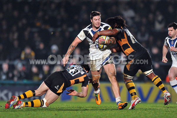 Matt Banahan goes on the charge. Aviva Premiership match, between London Wasps and Bath Rugby on January 6, 2013 at Adams Park in High Wycombe, England. Photo by: Patrick Khachfe / Onside Images