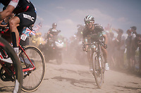 Rafał Majka (POL/BORA-hansgrohe) eating dust on pav&eacute; sector #2<br /> <br /> Stage 9: Arras Citadelle &gt; Roubaix (154km)<br /> <br /> 105th Tour de France 2018<br /> &copy;kramon