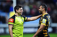 Ben Youngs of Leicester Tigers speaks with Kurtley Beale of Wasps after the match. Aviva Premiership match, between Wasps and Leicester Tigers on January 8, 2017 at the Ricoh Arena in Coventry, England. Photo by: Patrick Khachfe / JMP