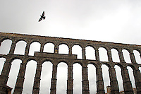 The Aqueduct bridge of Segovia, Spain.  Researchers have indicated that the Roman Aqueduct and it's bridge date back to the 2nd half of the 1st century and the early years of the 2nd century.
