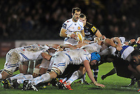 Haydn Thomas of Exeter Braves looks to put the ball into a scrum. Aviva A-League match, between Bath United and Exeter Braves on November 30, 2015 at the Recreation Ground in Bath, England. Photo by: Patrick Khachfe / Onside Images