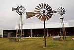 Windmills at the Farm and Ranch Museum, Elk City, Oklahoma...Three metal windmills: 8-foot Aermotor, 8-foot Monitor, 6.5 foot W-Series Monitor