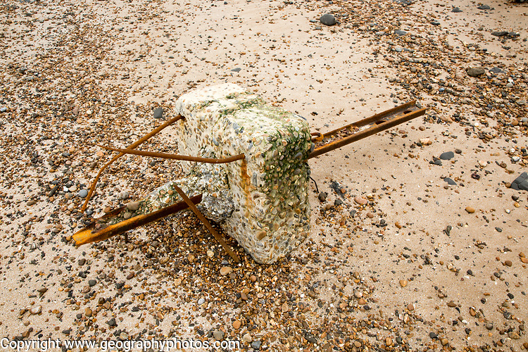 Remains of steel stanchion for barbed wire anti-invasion defences Bawdsey, Suffolk, England,